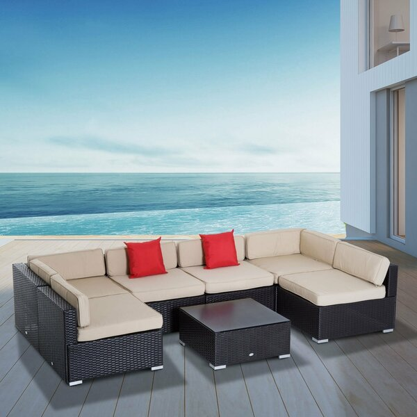 Featherston 7 Piece Rattan Sectional Seating Group with Cushions by Latitude Run