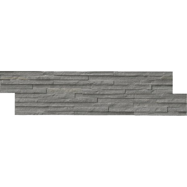 Pencil Ledger Panel 6 x 24 Natural Stone Splitfaced Tile in Charcoal by MSI