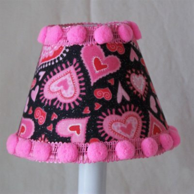 Funky Hearts 7 H Fabric Empire Lamp Shade ( Screw On ) in Pink/Black