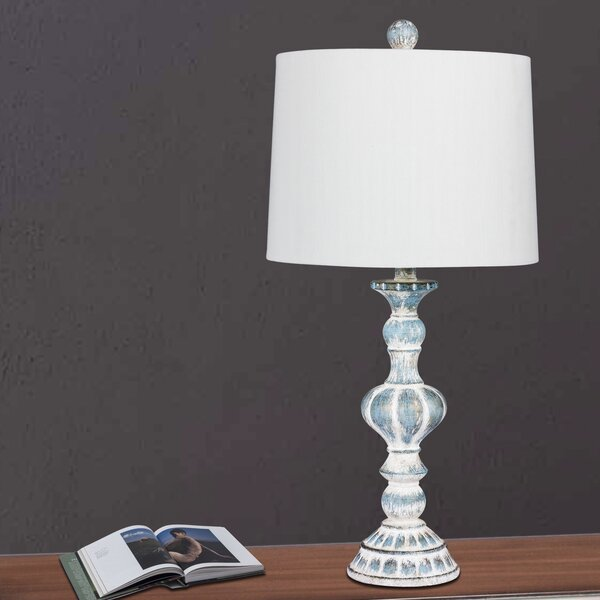 Roxann Rustic Sculpted Candlestick 27 Table Lamp (Set of 2) by Ophelia & Co.