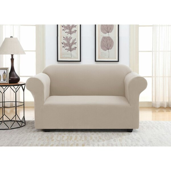 Solid Pique Box Cushion Loveseat Slipcover by Winston Porter