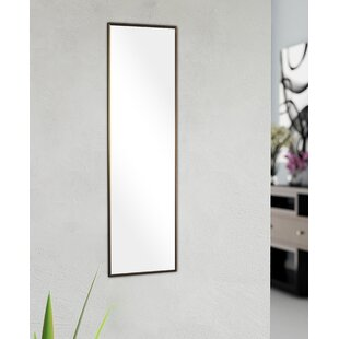 Three Posts Rectangle Bronze Glass Wall Mirror