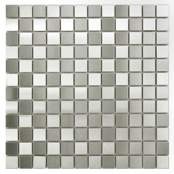 1 x 1 Metal/Porcelain Mosaic Tile in Polished Stainless steel by EliteTile