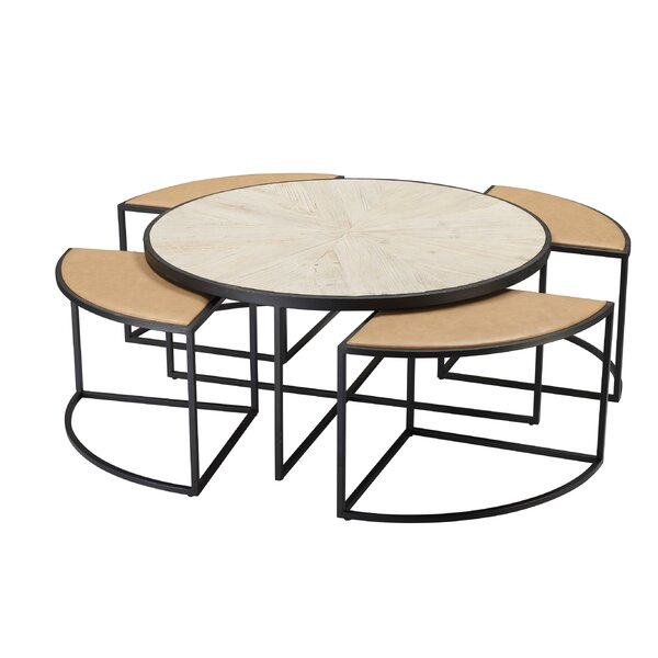 Deeley Coffee Table With 4 Nested Stools By Latitude Run
