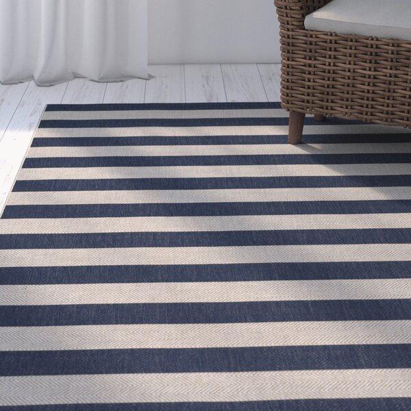 Palm Cove Stripe Blue/Beige Indoor/Outdoor Area Rug by Breakwater Bay