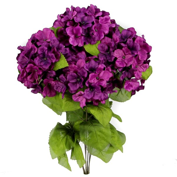 7 Stems Artificial Full Blooming Stain Hydrangea by Lark Manor