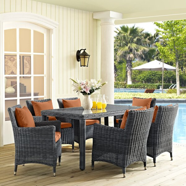 Keiran 7 Piece Dining Set with Sunbrella Cushions by Brayden Studio