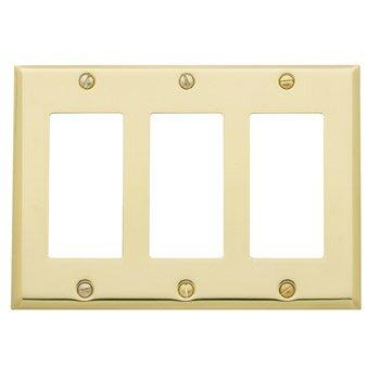 Classic Square Bevel Design Triple GFCI Switch Plate by Baldwin
