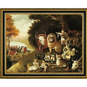 'A Peaceable Kingdom' by Edward Hicks Framed Painting Print by Canvas Art USA