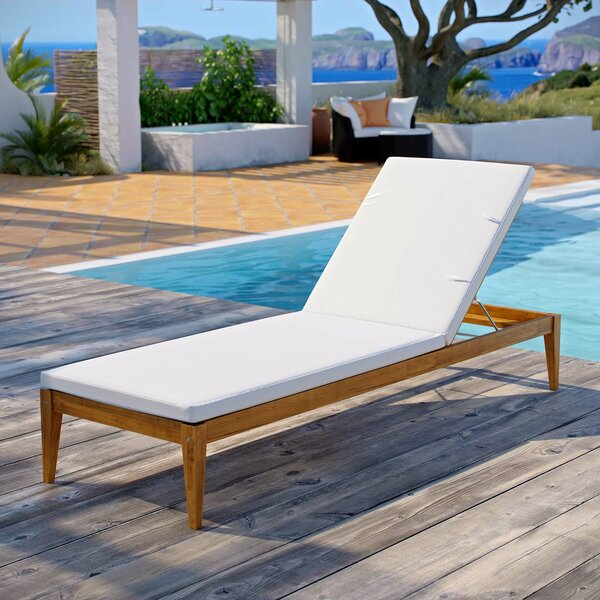 Dowell Patio Premium Grade A Teak Chaise Lounge with Cushion