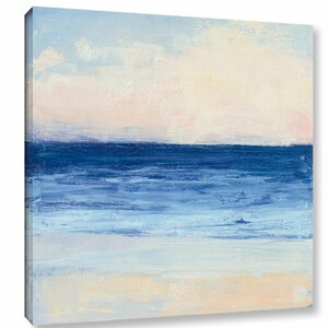 'True Blue Ocean I' Painting Print on Wrapped Canvas by Rosecliff Heights