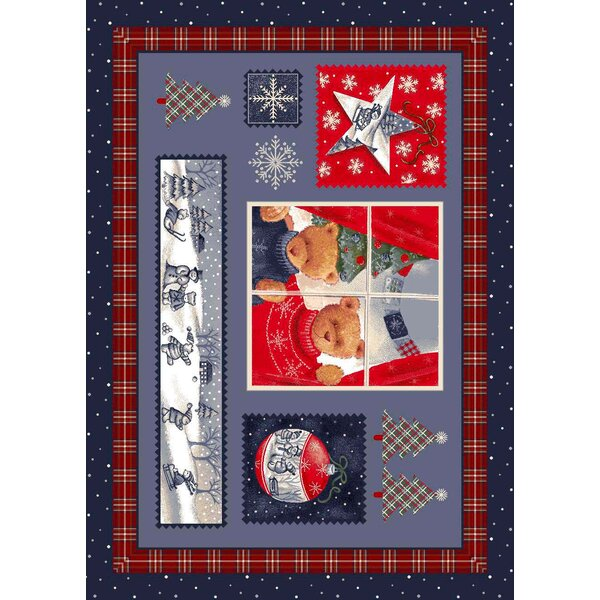 Winter Seasonal Holiday Christmas Cuddles Blue Area Rug by Milliken