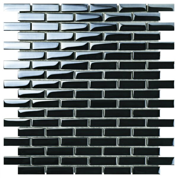 Sable 0.5 x 1.88 Glass Mosaic Tile in Black Mirror by EliteTile