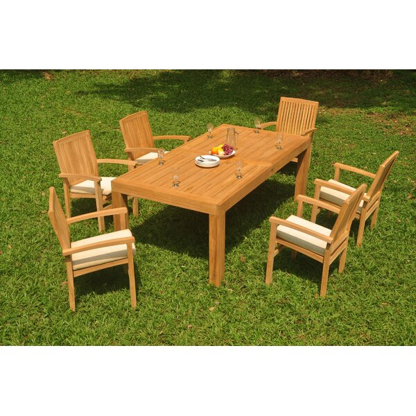Dorland 7 Piece Teak Dining Set by Rosecliff Heights