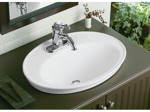 Serif Ceramic Oval Drop-In Bathroom Sink with Over