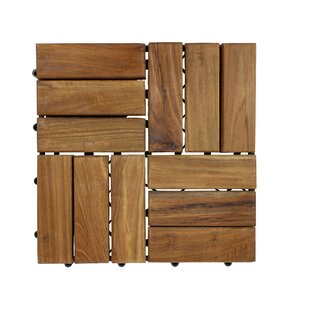 Teak Interlocking Deck Floor Tile Set Of 10
