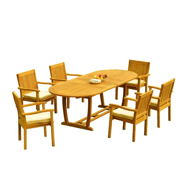 Maskell 7 Piece Teak Dining Set by Rosecliff Heights