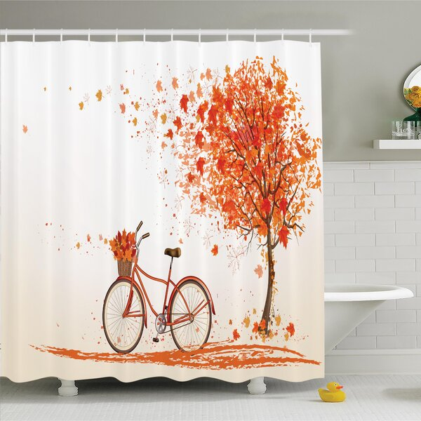 Fall Decor Bicycle Orange Tree Shower Curtain Set by Ambesonne