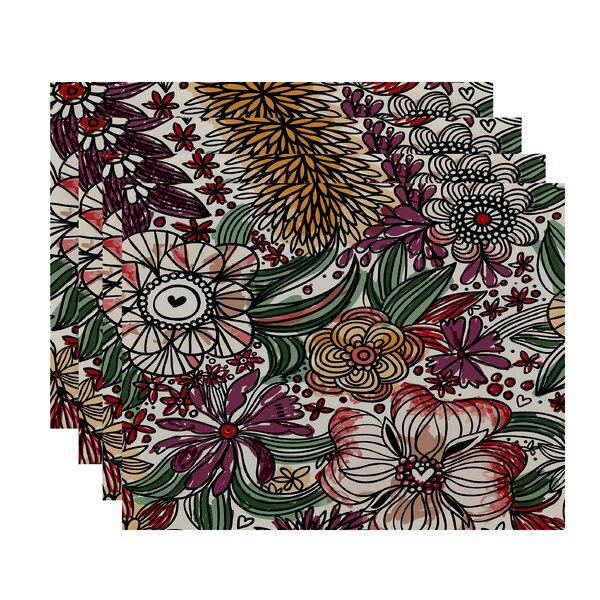 Natahsa Zentangle Floral Print Placemat (Set of 4) by Latitude Run