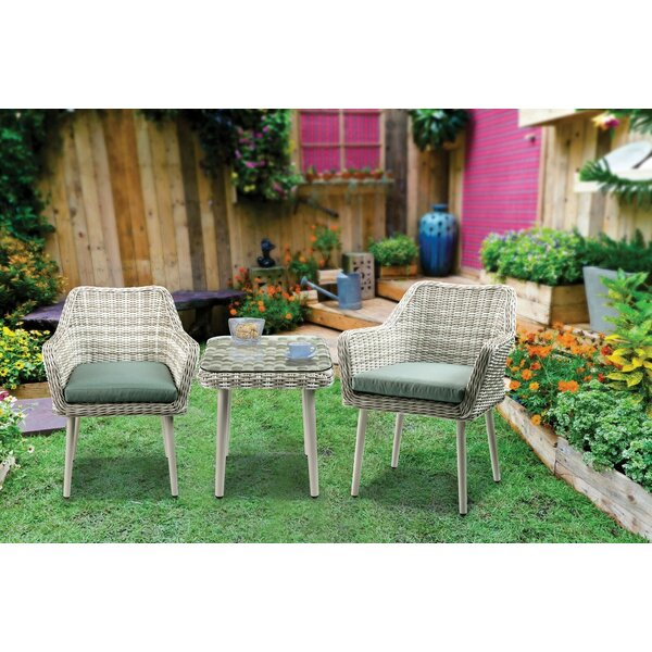 Brittnie 3 Piece Bistro Set with Cushions by Bungalow Rose