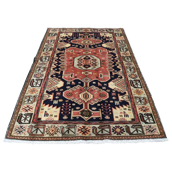 One-of-a-Kind Pritt New Persian Malayer Oriental Hand-Knotted Blue Area Rug by World Menagerie