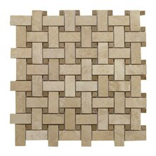 Light Filled Basketweave Noce Dot 1 x 2 Travertine Mosaic Tile in Honed by Seven Seas