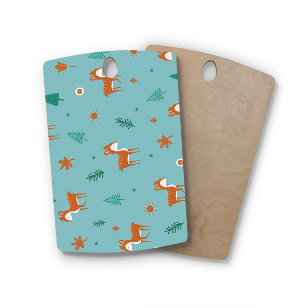 Cristina Bianco Design Birchwood Design Cute Deer Pattern Cutting Board by East Urban Home