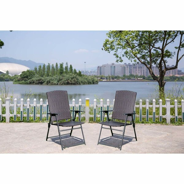 Cartley Folding Patio Dining Chair (Set of 2) by W