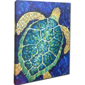 'Sea Turtle Mounted' Painting Print on Canvas by Beachcrest Home