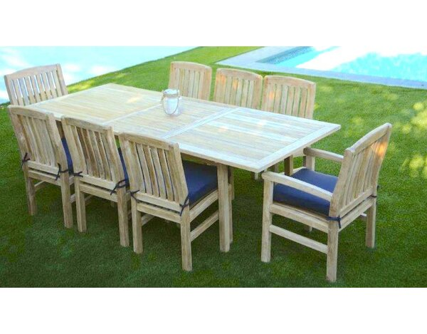 Waterford 9 Piece Teak Dining Set with Sunbrella Cushions by Trijaya Living