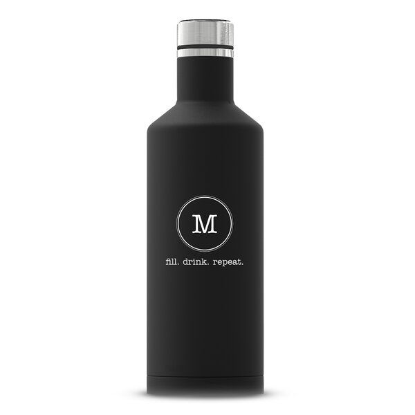 Sanches Typewriter Monogram Printing Personalized Insulated 17 oz. Stainless Steel Water Bottle by Ebern Designs
