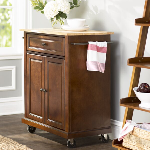 Donato Kitchen Cart with Wood Top by Charlton Home