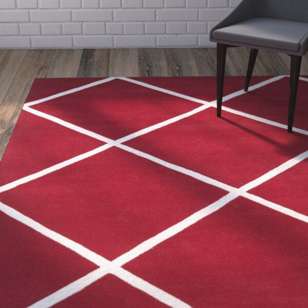 Wilkin Hand-Tufted Red/Ivory Area Rug by Wrought Studio