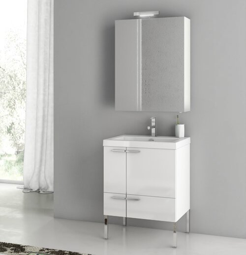 New Space 24 Single Bathroom Vanity Set with Mirror by ACF Bathroom Vanities