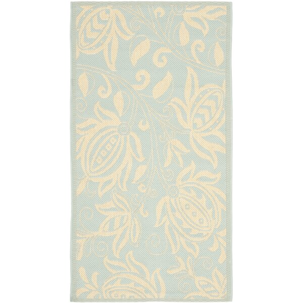 Laurel Aqua/Cream Indoor/Outdoor Area Rug by August Grove