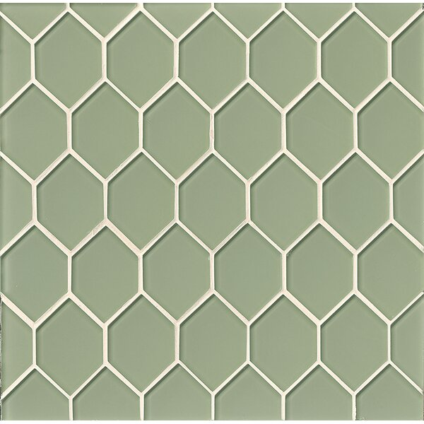La Palma Glass Mosaic Tile in Glossy Green by Grayson Martin