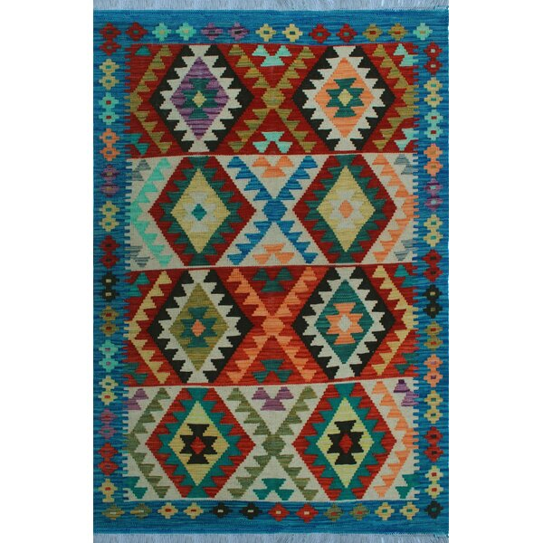 One-of-a-Kind Renita Kilim Hand-woven Wool Red/Blue Area Rug by Isabelline