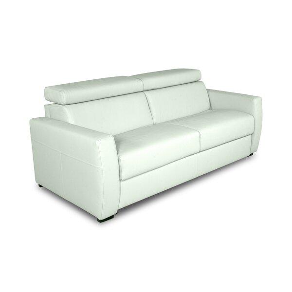 Ozawkie Genuine Leather 80'' Square Arm Sofa Bed