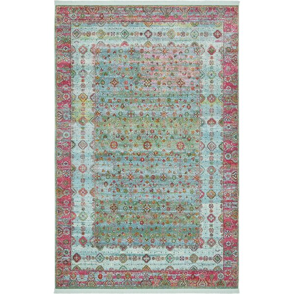 Lonerock European Pink/Teal Area Rug by Bungalow Rose