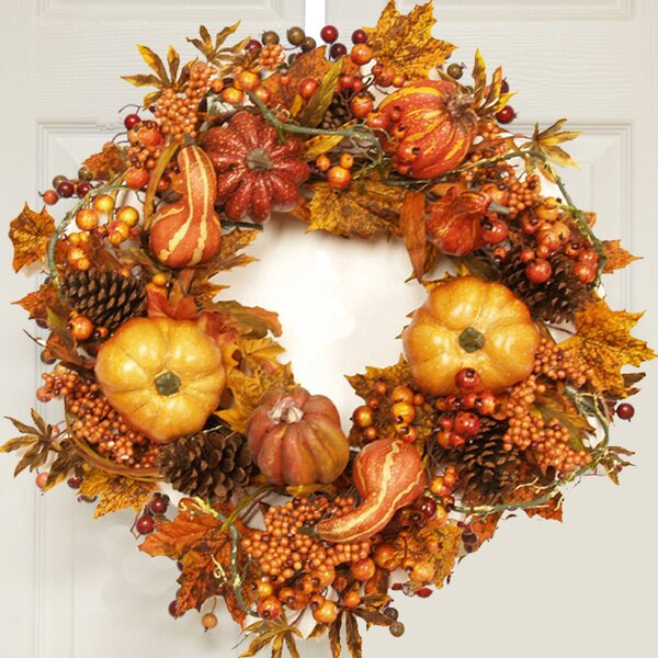 24 Fall Leaves Wreath by Floral Home Decor