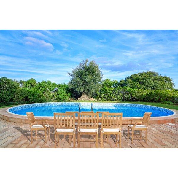 Dayne Patio 9 Piece Teak Dining Set with Sunbrella Cushions by Bay Isle Home