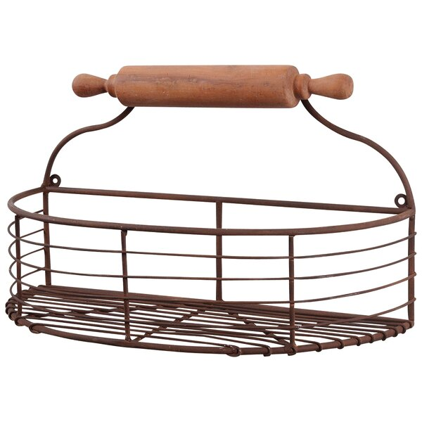 1/2 Moon Rollpin Wall Basket by Wilco Home