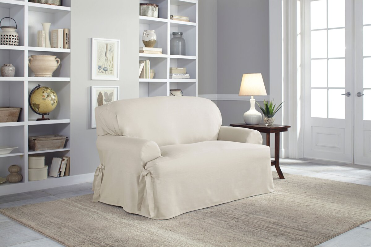 Cotton Duck T Cushion Loveseat Slipcover