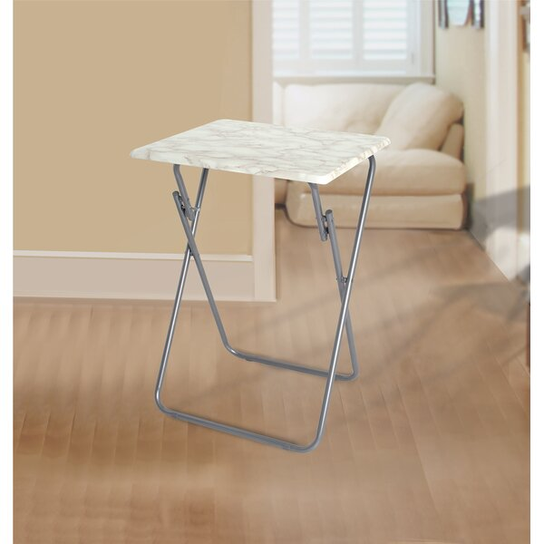 Jacobsen Metallic Veneer Folding Snack Tray Table by Rebrilliant