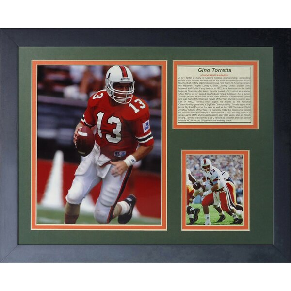 Gino Torretta - Miami Hurricanes Framed Photographic Print by Legends Never Die