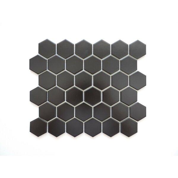 Barcelona Hexagon Matte 2 x 2.32 Porcelain Mosaic Tile in Black by The Mosaic Factory
