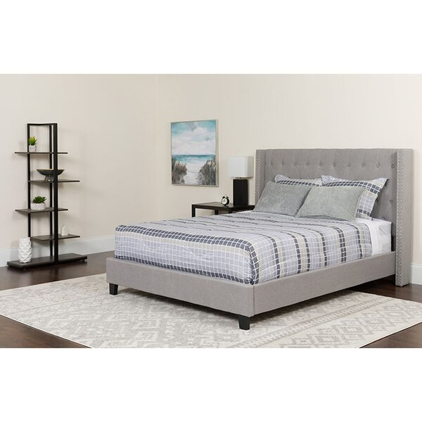 Edie Tufted Queen Upholstered Platform Bed with Mattress by Winston Porter