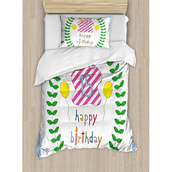 15th Birthday Decorations Cute Cartoon Style Composition with Branches Surprise Balloons Duvet Set by Ambesonne
