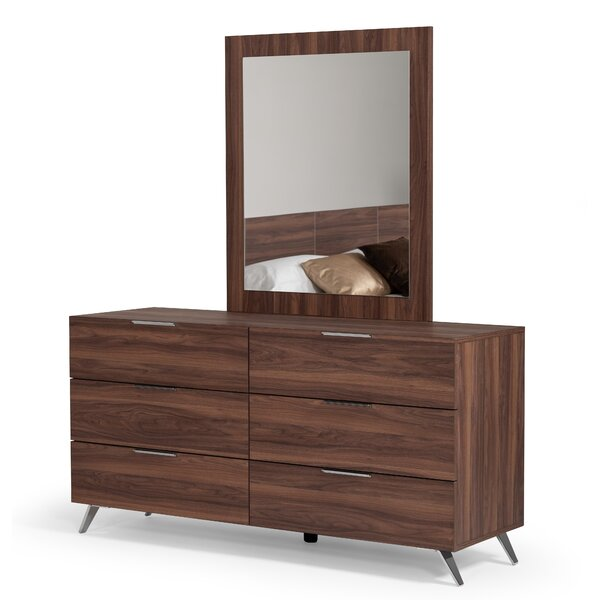 Larose Italian 6 Drawer Double Dresser with Mirror by Brayden Studio