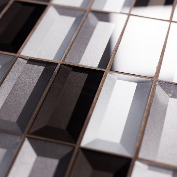Illusion 2x 4 Glass Mosiac Tile in Silver/Gray by Abolos